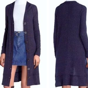 Free People duster cardigan, navy with shimmer